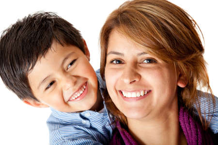 single woman: Mother and son - isolated over a white background