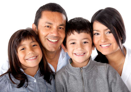 Beautiful latinamerican family smiling - isolated over a white background photo