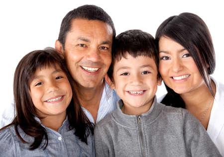 hispanic boy: De la familia latinoamericana Bella sonriendo - aislados en un fondo blanco
