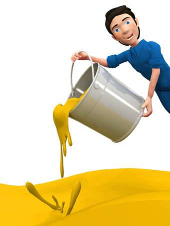 paint can: 3D man throwing yellow paint from a can - isolated over a white background