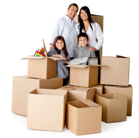 family moving house: Family packing in boxes for moving house - isolated over a white background Stock Photo