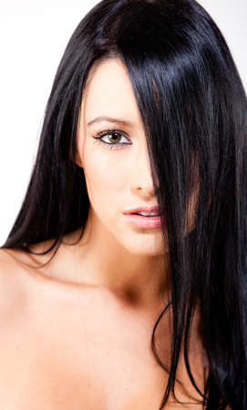 Beautiful woman with straight black hair - beauty concepts Stock Photo - 12198275