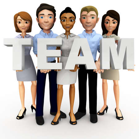 teamwork cartoon: 3D business people holding the word team - isolated over a white background