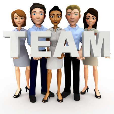 trabajo de equipo: La gente de negocios la celebraci�n en 3D la palabra equipo - aislados en un fondo blanco