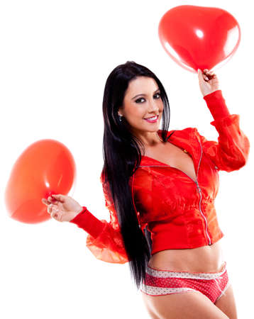 adult valentine: Woman giving a surprise on Valentines day - isolated over a white background