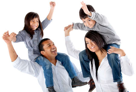 piggyback ride: Happy family with arms up - isolated over a white background Stock Photo