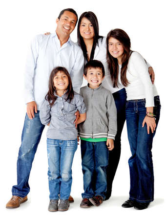 Beautful five memberLatin american family - isolated over a white background photo