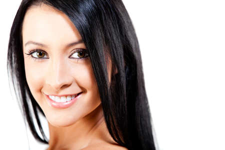 Woman with healthy dark hair looking beautiful - isolated  photo