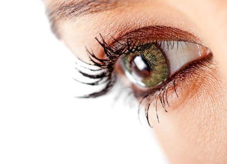 lentes de contacto: Primer plano de un ojo femenino con lentes de contacto verdes - aislados en un fondo blanco Foto de archivo