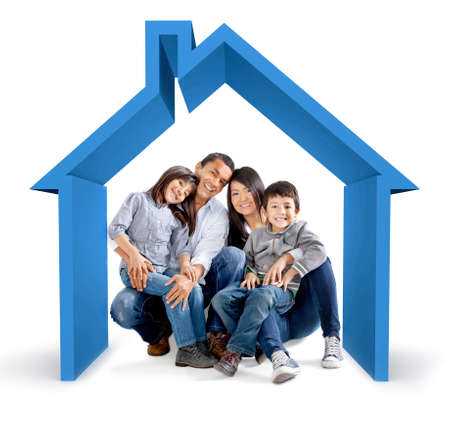 Beautiful family in a 3D house - isolated over a white background Stock Photo - 12197945