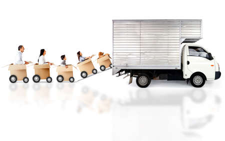 family moving house: Family loading a truck with boxes - fast delivery concepts