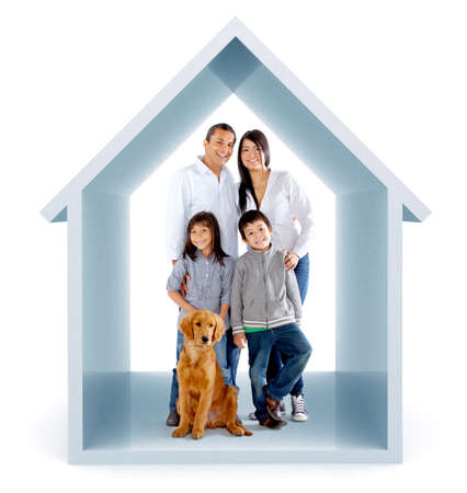 Family in a 3D house illustration - isolated over a white background illustration