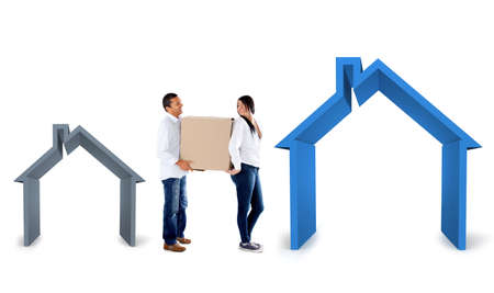 bigger: Couple moving into a bigger house - isolated over a white background Stock Photo