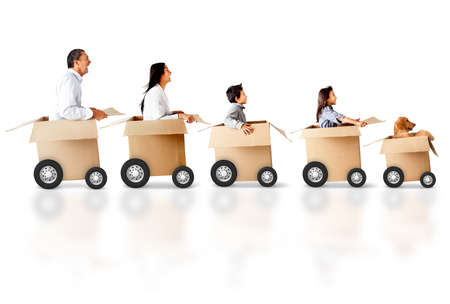 wheel house: Family in a car made of cardboard box - express delivery concepts Stock Photo