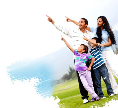 Illustration of a family outdoors in a green field pointing illustration