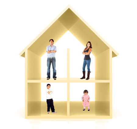 Family in a 3D home illustration - isolated over a white background illustration