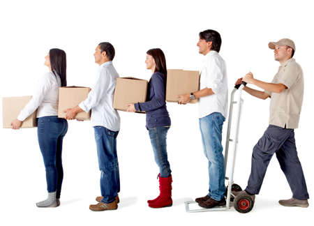 People in a delivery chain carrying boxes - isolated over a white background photo