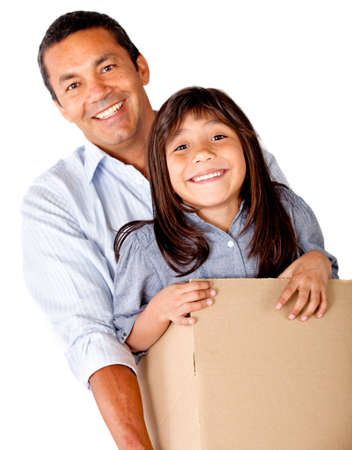 Man moving house and packing his daughter - isolated over a white background photo