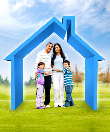 family house: Family buying a house - 3D illustration a green field