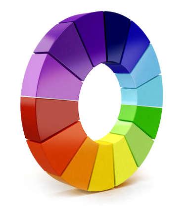 gamma: Carta de colores en 3D - aislados en un fondo blanco