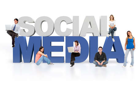 gente comunicandose: Los medios sociales aislados sobre un fondo blanco - de texto en 3D Foto de archivo