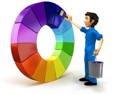 3D male painter with a color chart - isolated over a white background photo