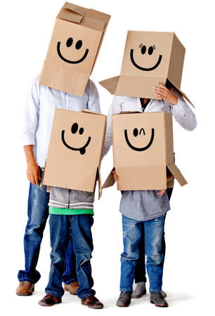 cardboard: Cardboard family characters - isolated over a white background