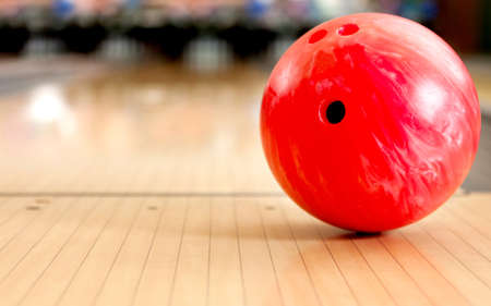 Close-up of a bowling ball in an alley Stock Photo - 12197849