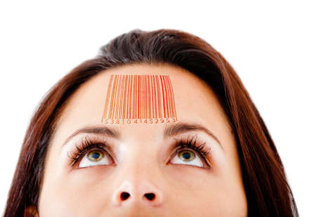 barcode: Woman with a barcode in her forehead selling knowledge - isolated over white  Stock Photo