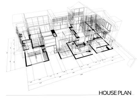 Casa blueprint filo - isolato su uno sfondo bianco Archivio Fotografico - 12200816