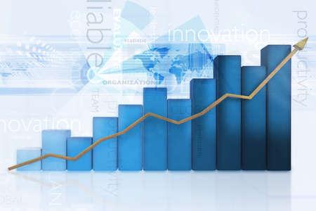 graficos de barras: Gr�fico de negocio con un crecimiento 3d - aislados en un fondo azul Foto de archivo