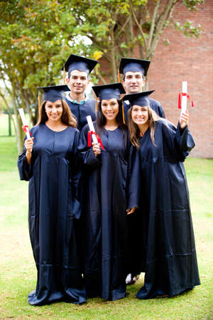 Group of friends looking happy on their graduation day photo