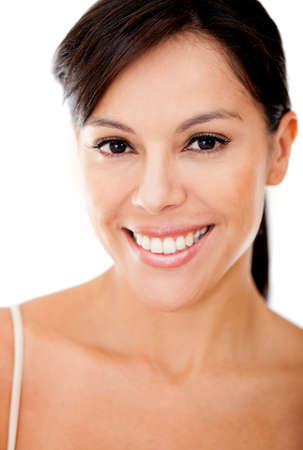 whie: Beautiful woman portrait smiling - isolated over a whie background Stock Photo
