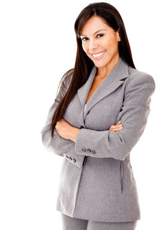 Confident business woman with arms crossed and smiling - isolated Stock Photo - 12393670