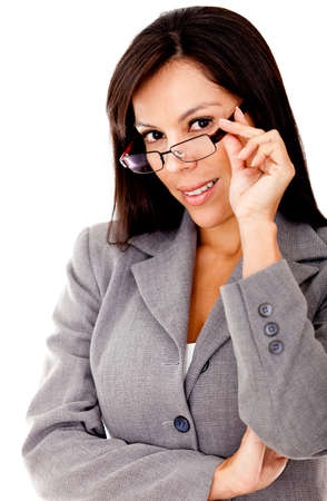 Successful business woman with glasses - isolated over a white background photo