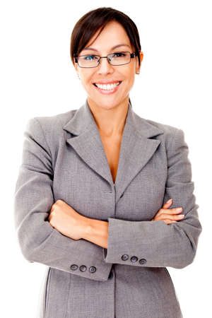 Business woman looking friendly and smiling - isolated over white  Stock Photo - 12393677