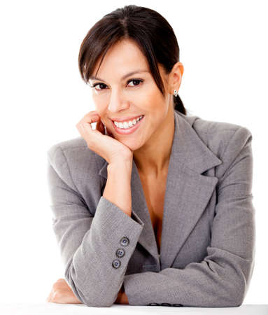 Happy business woman smiling - isolated over a white background Stock Photo - 12393655