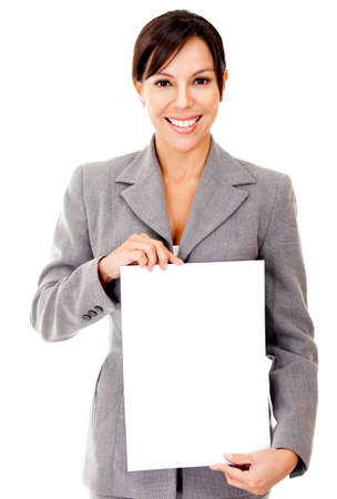exhibiting: Business woman holding a document in blank - isolated over a white background
