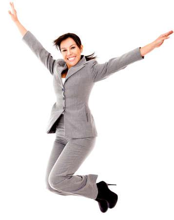 personas saltando: Empresas salto mujer - aislados en un fondo blanco Foto de archivo