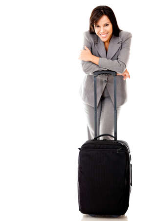Woman going on a business trip with a bag - isolated over a white background photo