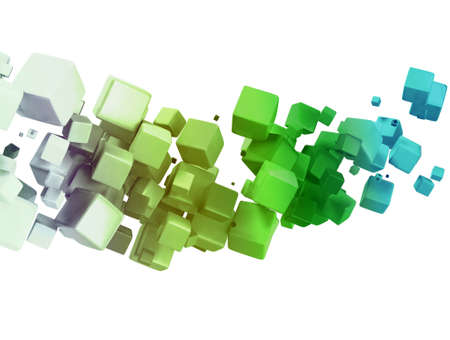 chaos: 3D abstract cubes - isolated over a white background