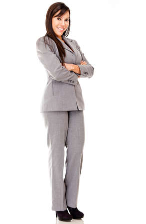 Business woman standing with arms crossed - isolated over white Stock Photo - 12393700