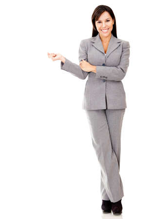 Successful businesswoman smiling - isolated over a white background Stock Photo - 12393697