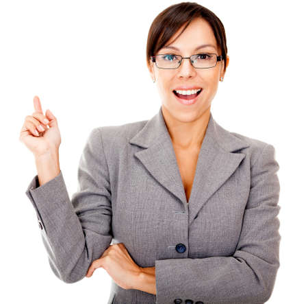 Business idea - woman  poiting up isolated over a white background photo