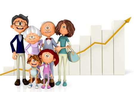 población: Familia en 3D con un gr�fico del crecimiento - aislados en un fondo blanco Foto de archivo