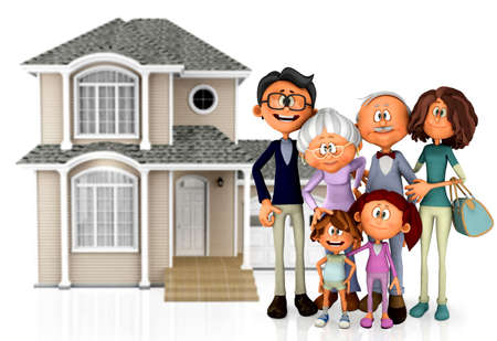 3D family with a house behind them - isolated over a white background photo