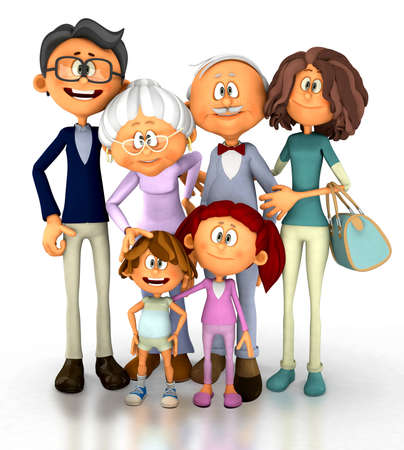 three generation: 3D family looking happy - isolated over a white background