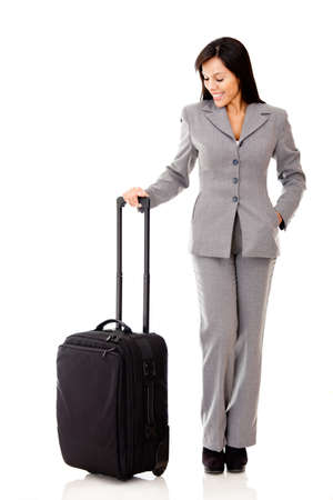 Successful woman going on a business trip - isolated over a white background photo
