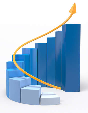 3D Growth bar graph - isolated over a white background Stock Photo - 12393836
