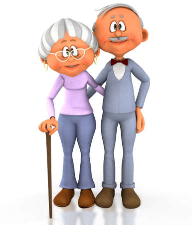 grandmas: 3D grandpa and grandma - isolated over a white background